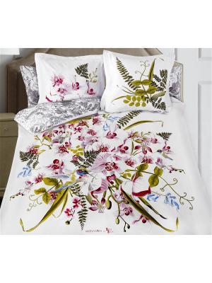 Комплект постельного белья SergLook 2х сп. Orchid Mona Liza. Цвет: белый, зеленый, розовый