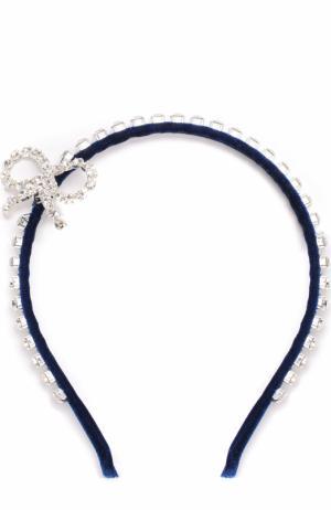 Текстильный ободок с кристаллами Simonetta. Цвет: синий