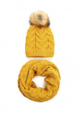 Комплект шапка и снуд Fete. Цвет: оранжевый