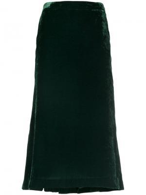 Бархатная юбка с расклешенным подолом Push Button. Цвет: зелёный