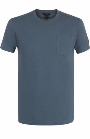 Хлопковая футболка с круглым вырезом Belstaff. Цвет: синий