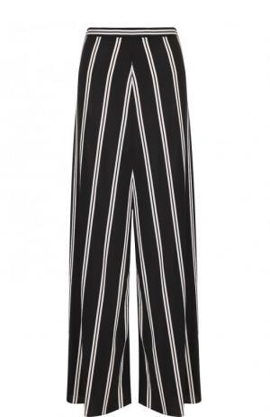 Широкие расклешенные брюки в контрастную полоску Alice + Olivia. Цвет: черно-белый