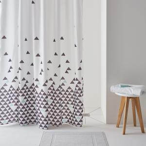 Штора для душа FLY, с рисунком треугольники La Redoute Interieurs. Цвет: белый/синий/серый