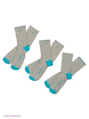 Носки спортивные 3 пары Unlimited. Цвет: лазурный
