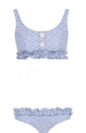 Раздельный купальник с принтом и оборками Lisa Marie Fernandez. Цвет: голубой
