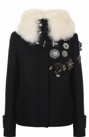 Шерстяная куртка с меховой отделкой Fay. Цвет: темно-синий