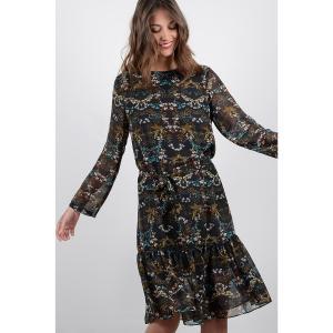 Платье-миди, 3/4, с длинными рукавами MOLLY BRACKEN. Цвет: черный/рисунок цветочный