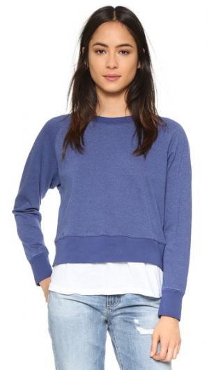 Двухслойная футболка с рукавами реглан MONROW. Цвет: темно-синий