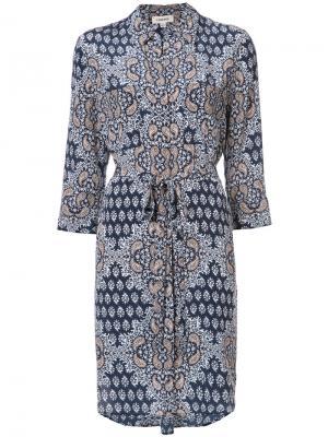 Платье-рубашка с цветочным узором Lagence L'agence. Цвет: синий