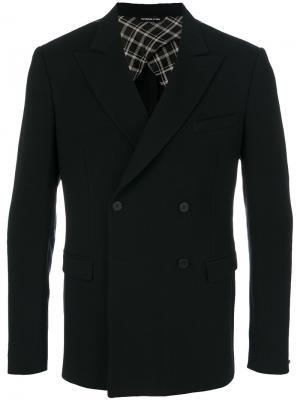 Приталенный двубортный пиджак Tonello. Цвет: чёрный