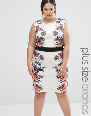 Praslin Платье-футляр с цветочным принтом на вставках Plus Illusion. Цвет: белый