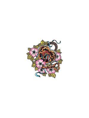 Временная переводная татуировка Сердце МнеТату. Цвет: голубой, сиреневый, фиолетовый, красный, желтый, черный, синий, зеленый, морская волна