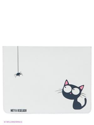 Чехол для IPad, Кошка и паучок Mitya Veselkov. Цвет: белый