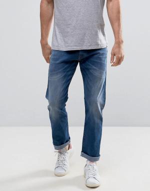 Esprit Выбеленные прямые джинсы. Цвет: синий