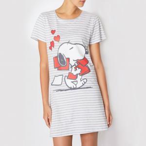Рубашка ночная Snoopy. Цвет: серый/в полоску