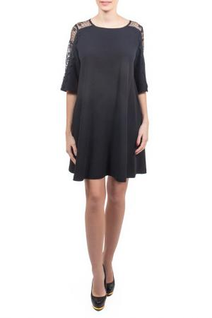 Свободное платье с рукавами 1/2 Piena. Цвет: черный, хлопок