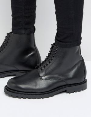 Hudson London Кожаные ботинки со шнуровкой эксклюзивно для ASOS. Цвет: черный