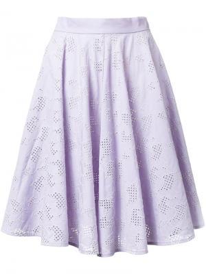 Юбка в складку с вышивкой Mikio Sakabe. Цвет: розовый и фиолетовый