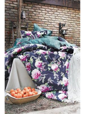 Комплект постельного белья AUDREY сатин, 200ТС, 1,5х ISSIMO Home. Цвет: темно-синий