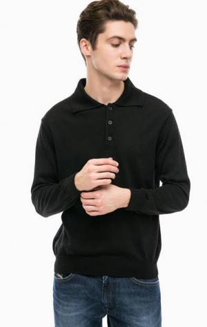 Черный джемпер с отложным воротничком NAVIGARE. Цвет: черный