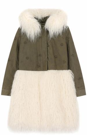 Текстильное пальто с вышивкой и фактурной отделкой Ermanno Scervino. Цвет: хаки
