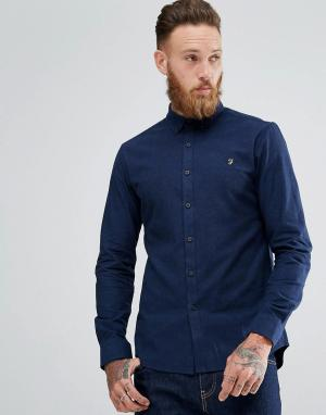 Farah Синяя приталенная рубашка Steen. Цвет: синий