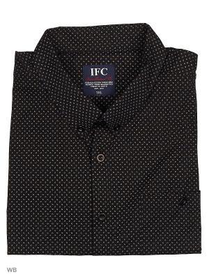 Рубашка IFC. Цвет: черный, светло-коричневый, серо-голубой