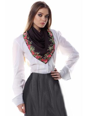 Платок шелк черный с цветочной рамкой SEANNA. Цвет: черный
