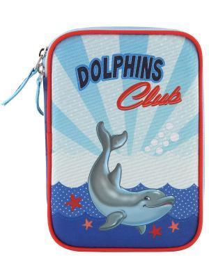 Пенал с канцтоварами Дельфины 2 Target. Цвет: темно-синий, синий, темно-серый