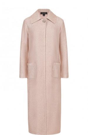 Удлиненное буклированное пальто с накладными карманами St. John. Цвет: розовый