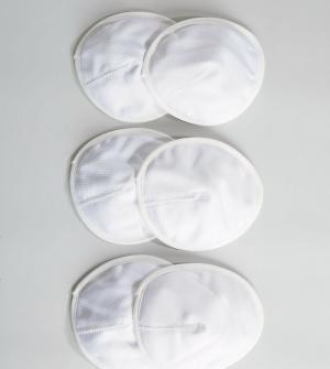 Emma Jane 3 пары многоразовых вкладышей для кормящих мам. Цвет: белый