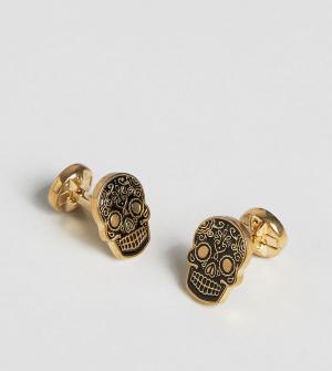 Noose & Monkey Золотистые запонки с черными черепами эксклюзивно для A. Цвет: золотой