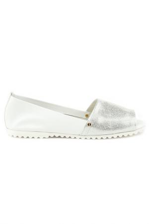 Туфли летние Sandm. Цвет: белый, серебро