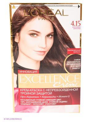 Стойкая крем-краска для волос Excellence, оттенок 4.15, Морозный шоколад L'Oreal Paris. Цвет: коричневый