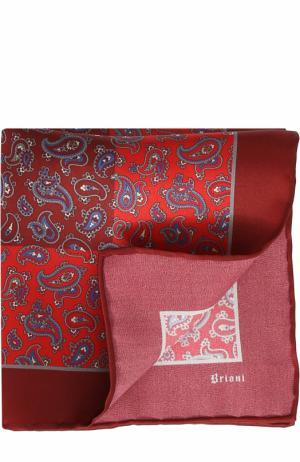 Шелковый платок с принтом Brioni. Цвет: красный