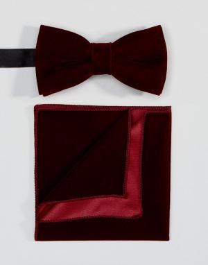 Peter Werth Комплект из галстука-бабочки и платка для нагрудного кармана Wer. Цвет: красный