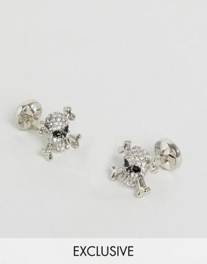 Noose & Monkey Запонки с черепами и кристаллами. Цвет: серебряный