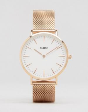Cluse Часы цвета розового золота с сетчатым браслетом La Boheme CL1811. Цвет: золотой