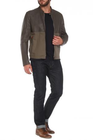 Полуприлегающая куртка на молнии Armani Collezioni. Цвет: коричневый