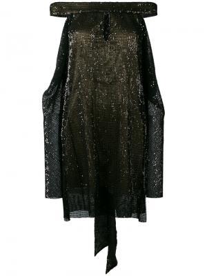 Платье с отделкой пайетками La Mania. Цвет: чёрный