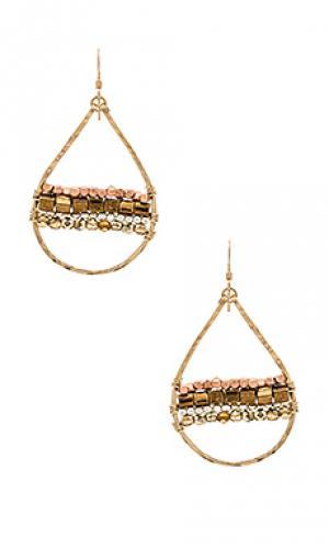 Серьги horizon Mimi & Lu. Цвет: металлический золотой