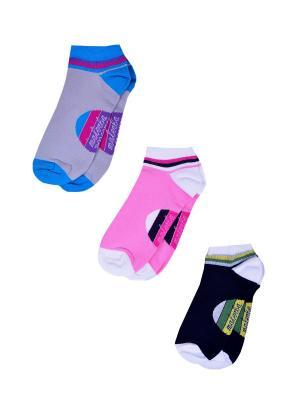 Носки женские,комплект 3шт Malerba. Цвет: черный, розовый, серый