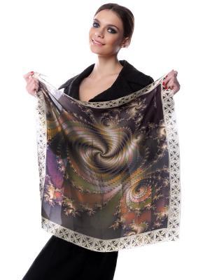 Платок шёлк, бежевая ракушка SEANNA. Цвет: черный