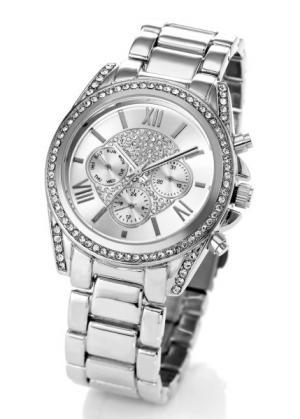Часы на металлическом браслете (серебристый) bonprix. Цвет: серебристый