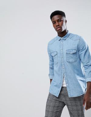 Weekday Синяя джинсовая рубашка. Цвет: синий