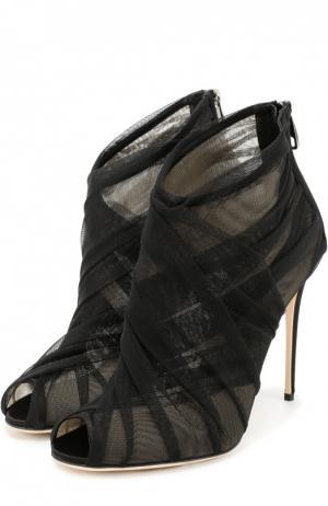 Ботильоны из полупрозрачного текстиля на шпильке Dolce & Gabbana. Цвет: черный