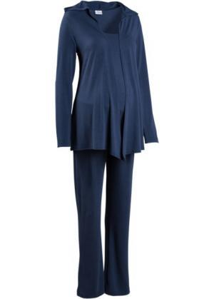 Мода для беременных: спортивные костюм из куртки, брюк и топа (3 изд.) (темно-синий) bonprix. Цвет: темно-синий