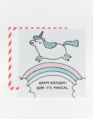 OHH DEER Открытка на День рождения с единорогом Gemma Correll. Цвет: мульти