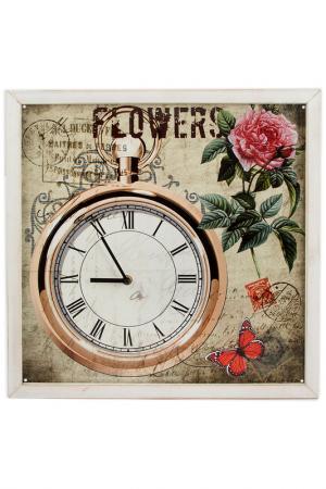 Часы настенные 43x43x2 см Русские подарки. Цвет: белый, коричневый, розовый