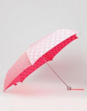 Cath Kidston Ярко-розовый зонт в горошек. Цвет: розовый